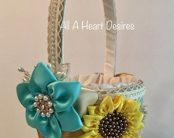 Sunflower Flower Girl Basket, Ivory and Aqua Flower Girl Basket, Country Chic Wedding, Sunflowers and Burlap, Rustic Wedding Flower Basket