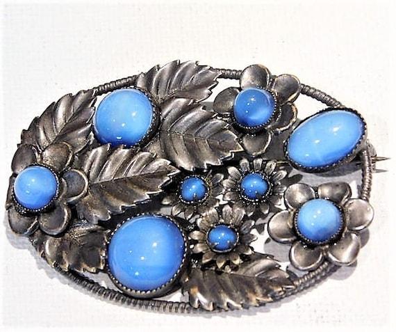 Czech Glass Brooch / Signed CZECHOSLOVAKIA / Blue Moonstone Brooch / Art Nouveau