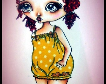 Digi Stamp Digital Instant Download Big Eye Girl ~ Annie Doll Image No. 4 & 4B by Lizzy Love