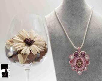 Necklace soutaches Pendant Pink cameo-soutaches Necklace-Pink pendant-Cameo pendant-gift for her-Valentine