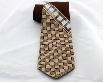 Vintage Men's Brown White Checkered Wide Tie/ Retro Checker Striped Brown Beige White Fat Necktie