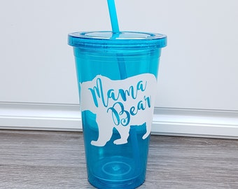 Blue Mama Bear Tumbler, Mothers day, For her, Gifts, Birthday, Home, Drinkware, Kitchen and dining, Bear, Cup, Mug, Takeout, Outdoors