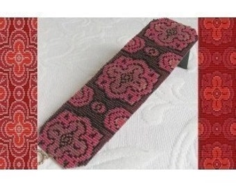 2 Loom Bead Patterns - Spanish Rose Cuff Bracelets - 2 Variations For The Price Of 1