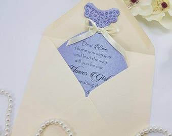 Will you be my Bridesmaid Cards Wedding Party Cards Matron of Honor Flower Girl Cards Drees Card