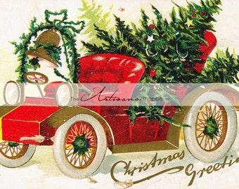 Instant Art Printable Download - Jalopy Car Christmas Image - Paper Crafts Altered Art Scrapbooking - Antique Vintage Christmas Card Image