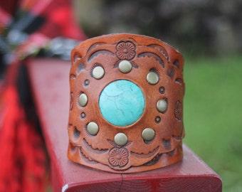 Women's Leather Cuff Bracelet, Southwestern, Western, Boho Handmade Adjustable Leather Jewelry