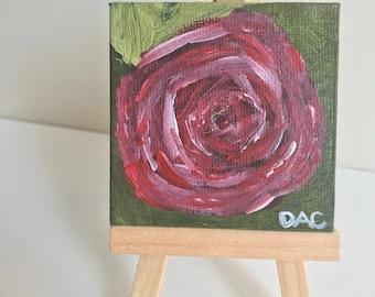 Single rose 2.5x 2.5 Acrylic original painting