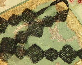 "1 yard Antique silk chantilly lace mourning bonnet trim  flower tulle dot 2"" wide Regency pattern victorian black gothic hat millinery"