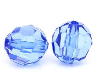 Set of 10 ball 12mm blue faceted acrylic beads