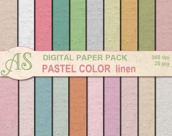Digital Pastel Color Linen Paper Pack, 20 printable Digital Scrapbooking papers, Fabric Digital Collage, Instant Download, set 176