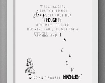Alice in Wonderland Print-  Book Print.  Inspirational print