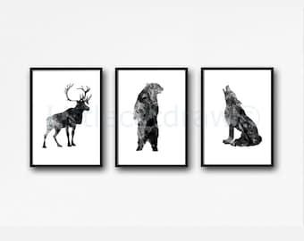 Woodland Animals Print Set Of 3 Watercolor Prints Black Deer Print Bear Print Wolf Print Art Home Decor 3 Art Print Wall Art Wall Decor