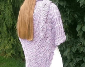 Luxurious, Drapey Hand Knitted Amethyst Shawl of Ribbon Yarn