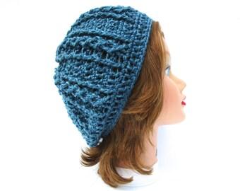 Crochet Tam Hat, Women's Hat, Crochet Beret, Blue Beanie, Crochet Hats For Women, Crochet Slouchy Hat, Winter Hat, Cable Hat, Blue Hat