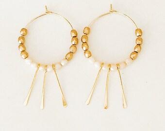 Beaded Hoop Earrings, Gold Hoop Earrings, Thin Hoop Earrings, Gold Filled Hoops, Boho Earrings, Tassel Earrings, Fringe hoops