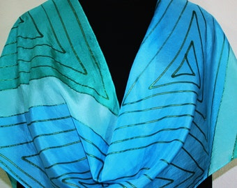 Turquoise, Teal Silk Scarf Hand Painted. SUMMER LAGOON, Large 14x72. Silk Scarves Colorado. Birthday Gift, Anniversary Gift