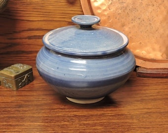 Blue Jar w Lid, Hand-made Pottery by Jb