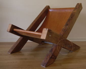 Reclaimed Wood and Leather Lounge Chair. Arm Chair. Handmade Lounge Chair. Hand Stitched Leather. Rustic Furniture