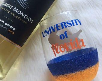 University of Florida Stemless Glitter Wine Glass // Glitter Glass // Stemless Wine Glass // Florida Gators Wine Glass // Glitter Cup