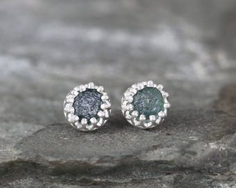 Montana Sapphire Earrings - Sterling Silver Crown Setting - September Birthstone - Raw Uncut Sapphire Earring - Blue Gemstone