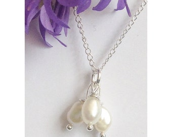 Sterling silver and freshwater pearl necklace, wedding necklace, summer necklace