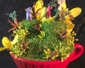 Polka Plateaus (Tea Cup Fairy Garden, Repurposed, Fairy Village)