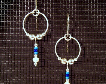 Sterling Silver Hoops with Freshwater Pearls and Seed Bead Blues Dangle