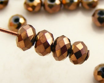 Crystal Beads 4x3mm Faceted Rondelles Metallic Bronze Abacus (Qty 25) MW-4x3R-BNZ