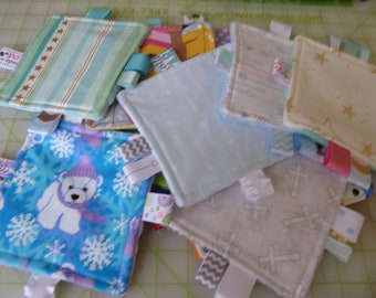 """Teething toys, closeout toys, baby girl, crinkle toys, baby toys, 5"""" squares, all flat set of 5,  lots of fun prints"""