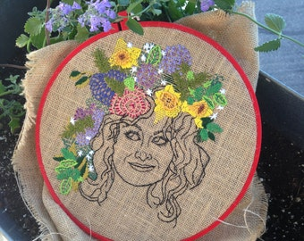 Woman with Flower Crown Hand Embroidered Wall Art; Amy Poehler Inspired Hoop Art