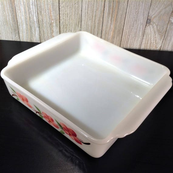 Vintage Fire King Peach Blossom Cake Pan 8 Casserole 1950s Anchor Hocking White Milk Glass Baking Dish W Hand Painted Flowers