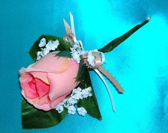 On Sale Rose Bud Boutonniere in Salmon Peachy Pinkish Color