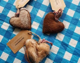 Bird Nesting Hearts - Filled with 100% Alpaca Fiber