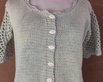 Pastel green cotton knit, buttoned front and round neck