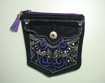 DENIM Jeans POCKETS / Denim Pouch with Bling / Dark Blue Jeans Purse / PURPLE Embroidery / Double Compartments / Upcycled Blue Jeans