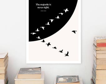 HENRIK ISBEN Literary Art Print, Large Wall Art Posters, Literary Quote Poster Illustration, Black and White Art, Literary Gift for Bookworm