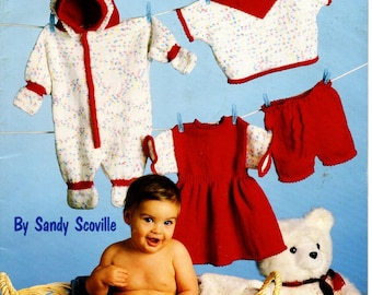 Baby Knits Knitting Pattern Leaflet ASN 1097 Bunting Dress Sweater Pants Size 6, 12, 18 Months