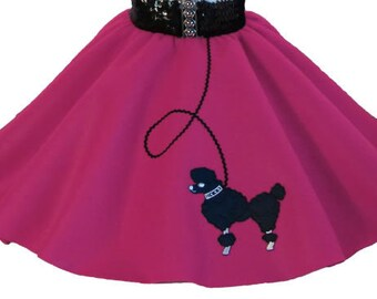 Hot Pink 50's POODLE SKIRT for YOUTH 10 12 14 16