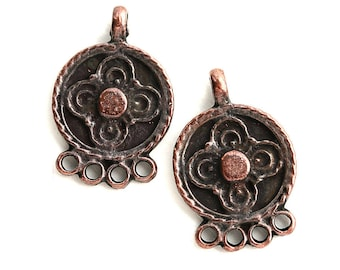 Copper Earring connectors, Chandelier, Round charms with loop, greek metal casting, flower ornament - 2Pc - F547