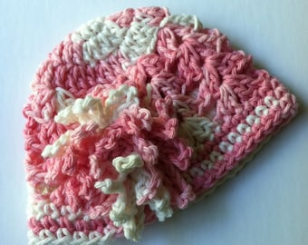 Crochet Baby Hat with Flower, Crochet Baby Hat, Newborn Hat, Baby Hat, Pink Hat, Hat with Flower, Baby Girl Hat, Infant Hat