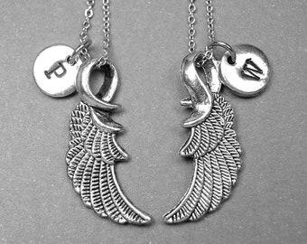 Angel wing necklace, best friend necklace, angel wing charm, angel wing jewelry, wings necklace, best friends gift, best friend jewelry