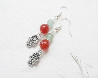 Yoga earrings, hamsa earrings, carnelian earrings, yoga jewelry
