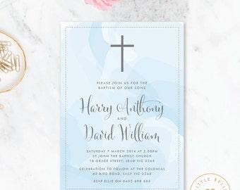 Twin Boy Baptism Invitation Printable / Twin Boy Christening Invite / Cross