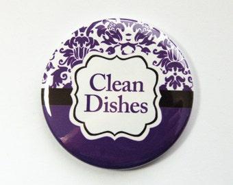 Clean Dishes, Dishwasher magnet, Purple, Damask, the dishes are clean, kitchen magnet, clean dishes magnet, Magnet, radiant orchid (3554)