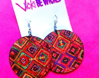 Abstract squares, wood Dangle circle earrings, 2.5 inch