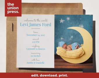 Birth Announcement Card - Boy or Girl Photo Baby Announcement - Printable Template