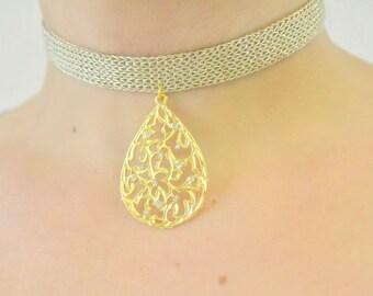 Red Butterfly Choker Necklace, Rose Choker, Gold Choker Necklace, Wrap Necklace, Cheap Jewelry, Oriental Choker, Woven Textile Choker, Gold