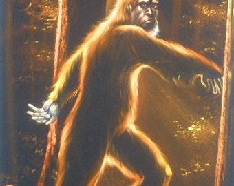 Sasquatch Bigfoot monster legend black velvet oil painting handpainted signed art