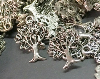 10pcs - Sterling Silver Plated Tree Of Life Charms - Sterling Silver Plated Tree Of Life Pendants - Alloy Charms - Pendants Findings