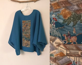 oversized teal linen top with vintage kimono panel ready to wear / kimono linen top / Japanese kimono / plus size linen top / shirt